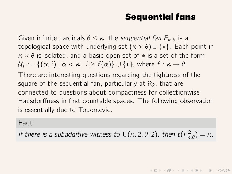 Sequential fans Given infinite cardinals θ ≤ κ, ...