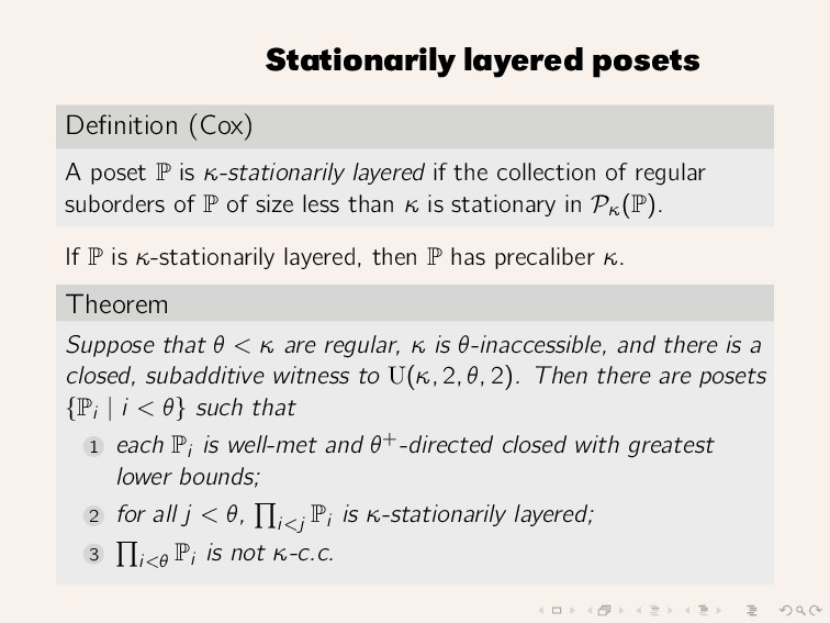 Stationarily layered posets Definition (Cox) A p...