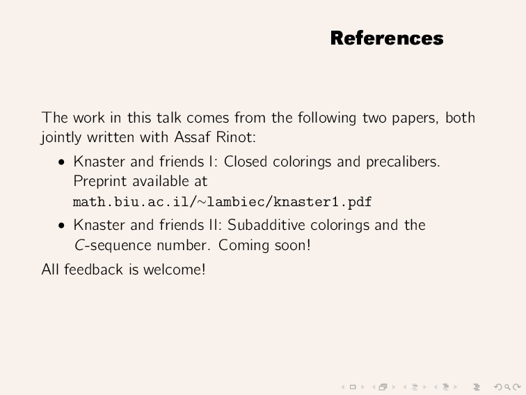 References The work in this talk comes from the...