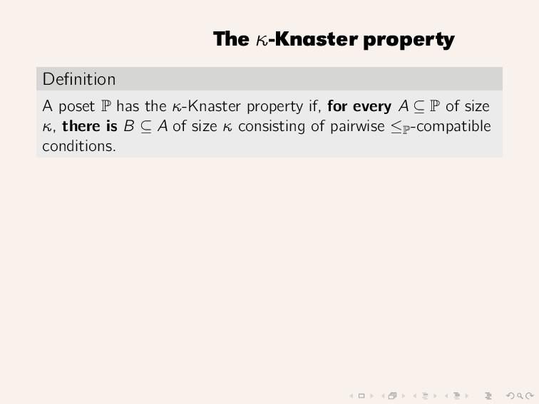 The κ-Knaster property Definition A poset P has ...