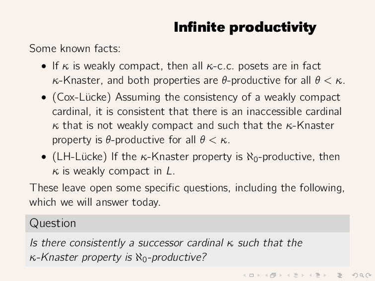 Infinite productivity Some known facts: • If κ i...