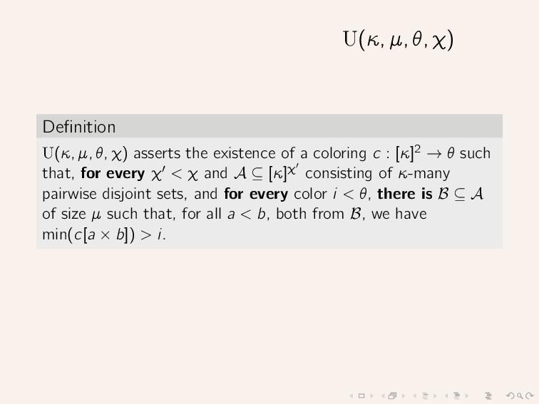 U(κ, µ, θ, χ) Definition U(κ, µ, θ, χ) asserts t...