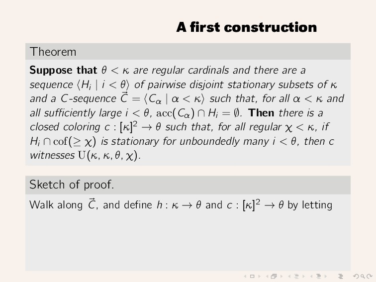 A first construction Theorem Suppose that θ < κ ...