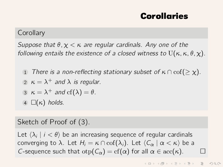 Corollaries Corollary Suppose that θ, χ < κ are...