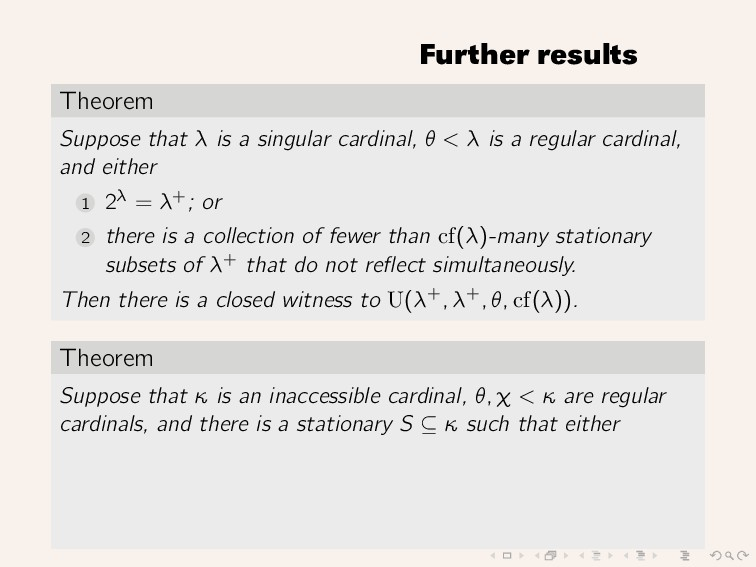 Further results Theorem Suppose that λ is a sin...