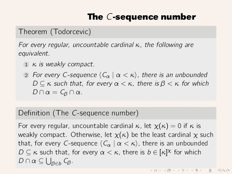 The C-sequence number Theorem (Todorcevic) For ...