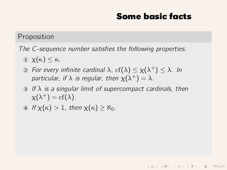 Some basic facts Proposition The C-sequence num...