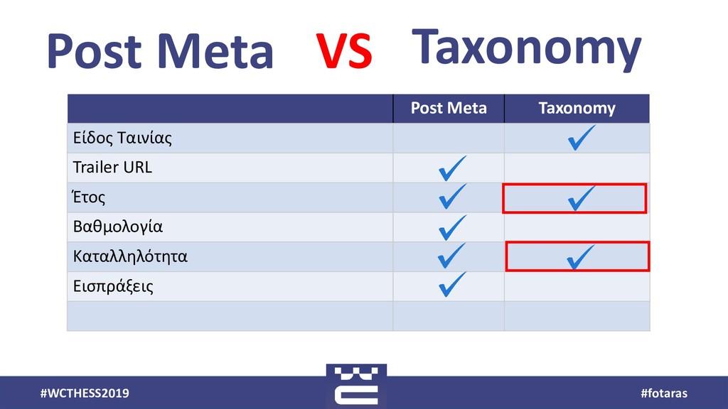#WCTHESS2019 #fotaras Post Meta Taxonomy VS Pos...