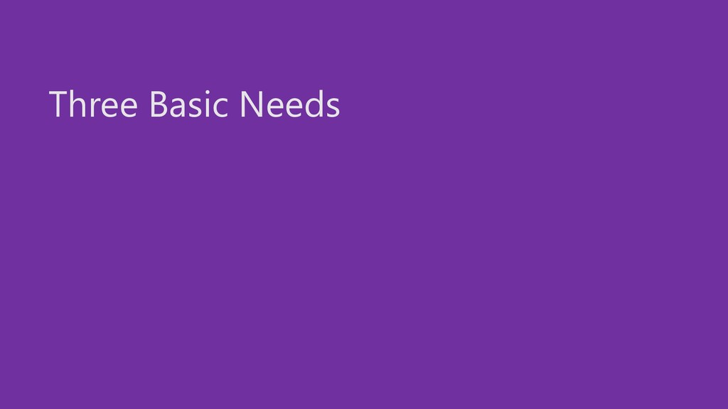 Three Basic Needs