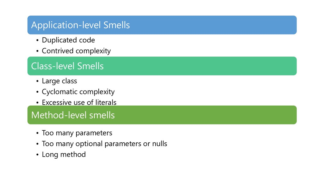 Application-level Smells • Duplicated code • Co...