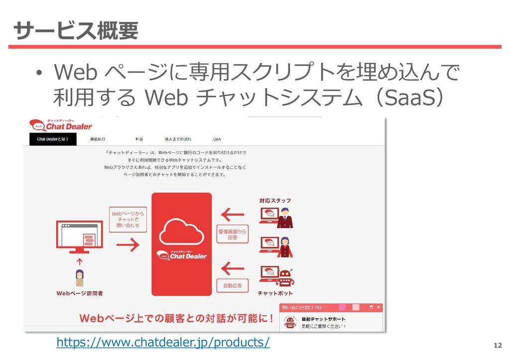 サービス概要 • Web ページに専用スクリプトを埋め込んで 利用する Web チャットシステ...
