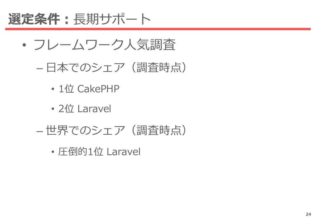 選定条件:長期サポート • フレームワーク人気調査 – 日本でのシェア(調査時点) • 1位 ...
