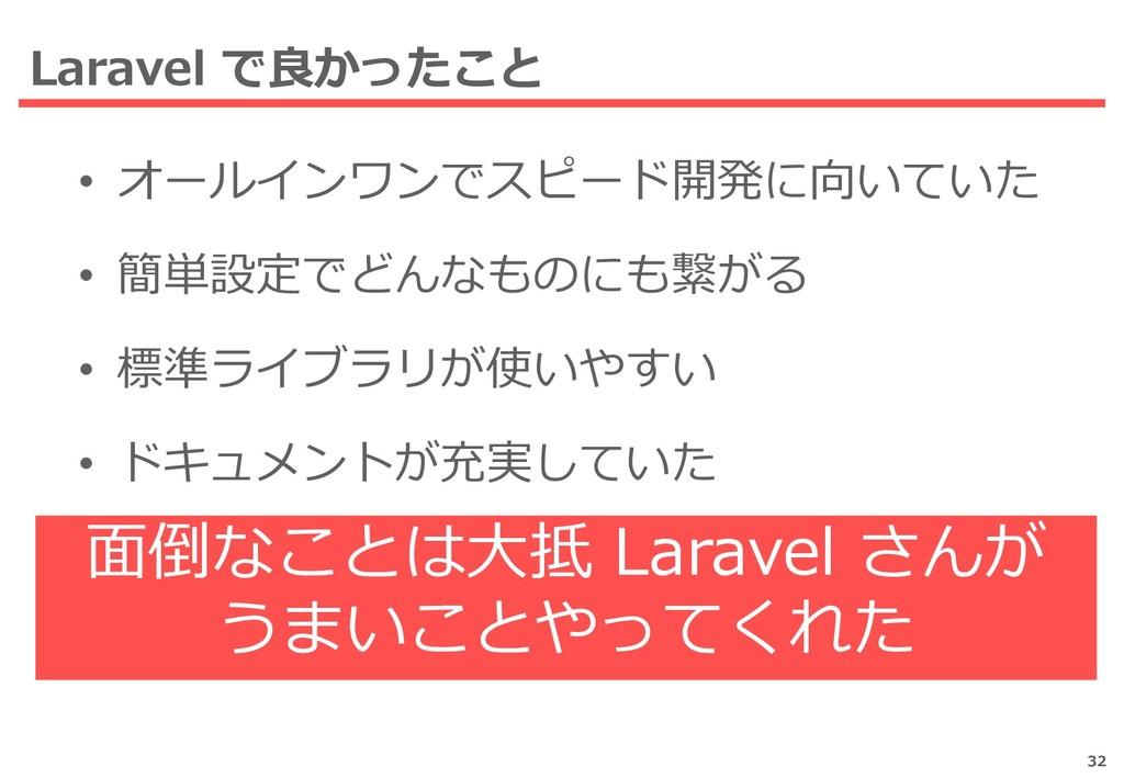 Laravel で良かったこと • オールインワンでスピード開発に向いていた • 簡単設定でど...