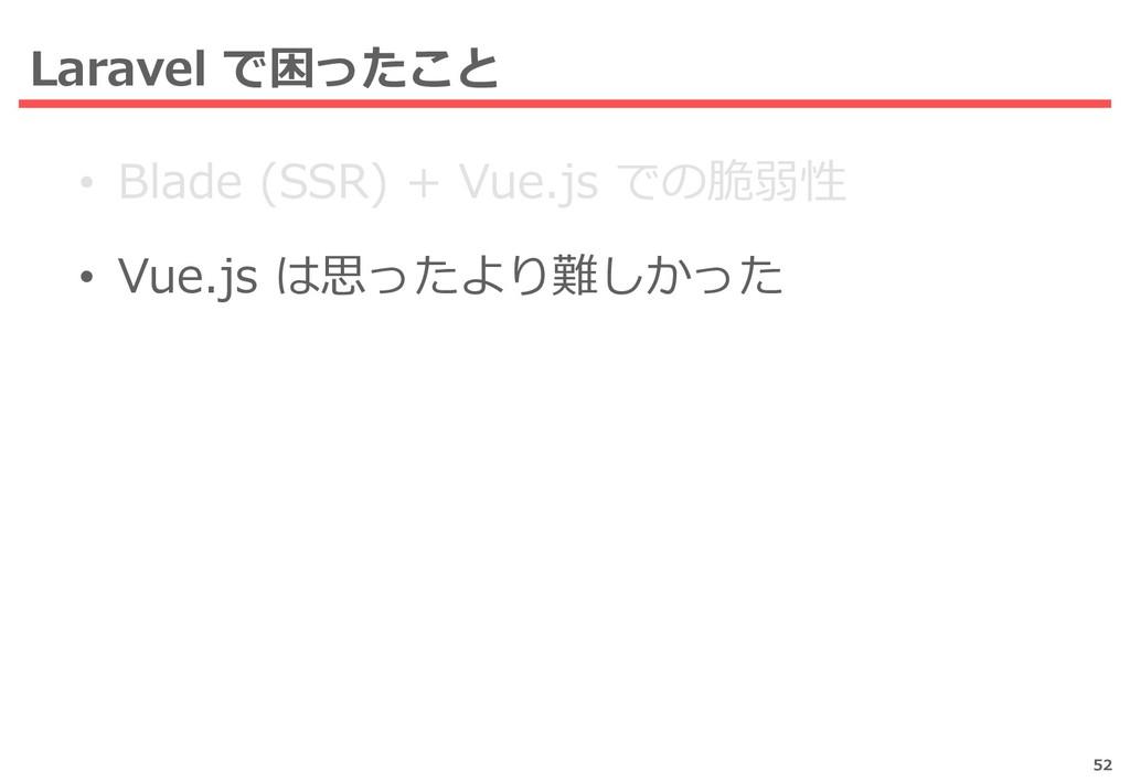 Laravel で困ったこと • Blade (SSR) + Vue.js での脆弱性 • V...