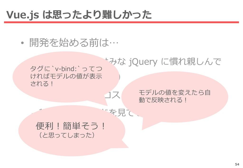 Vue.js は思ったより難しかった 54 • 開発を始める前は… – チームメンバーはみな ...