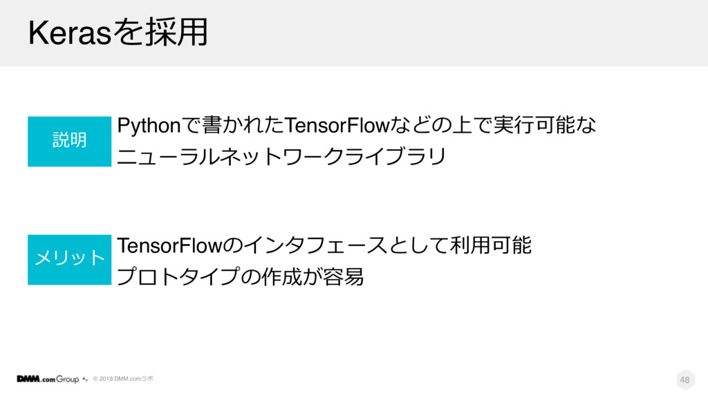 © 2018 DMM.com Keras0' Python-TensorFlow...