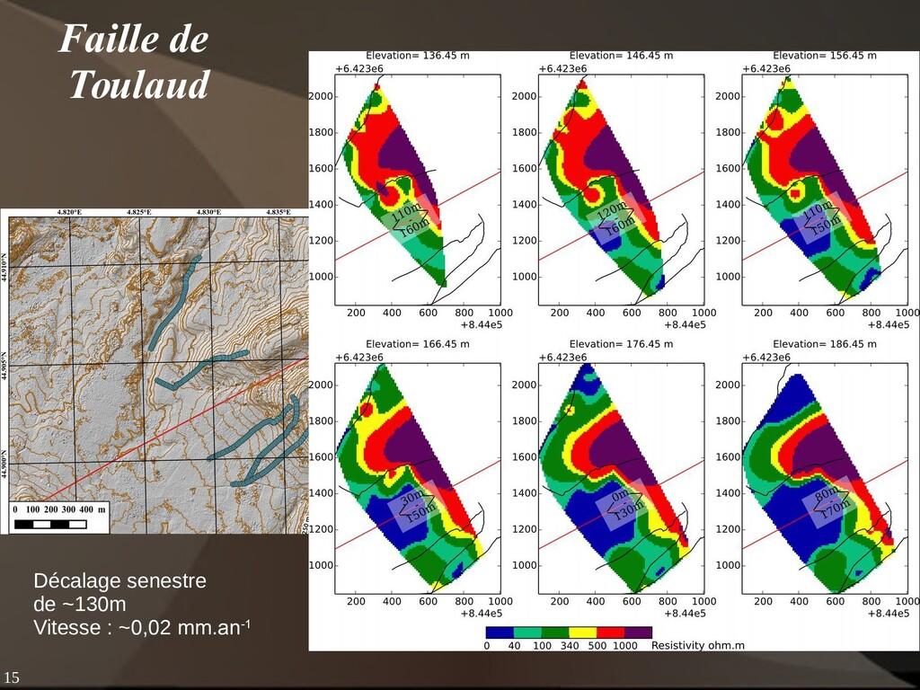 15 Faille de Toulaud Décalage senestre de ~130m...