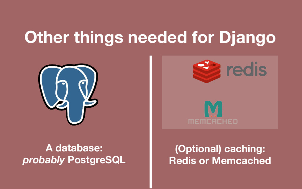 Other things needed for Django A database: prob...