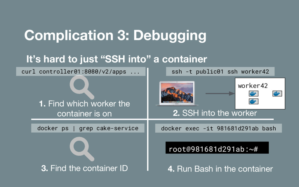 "Complication 3: Debugging It's hard to just ""SS..."