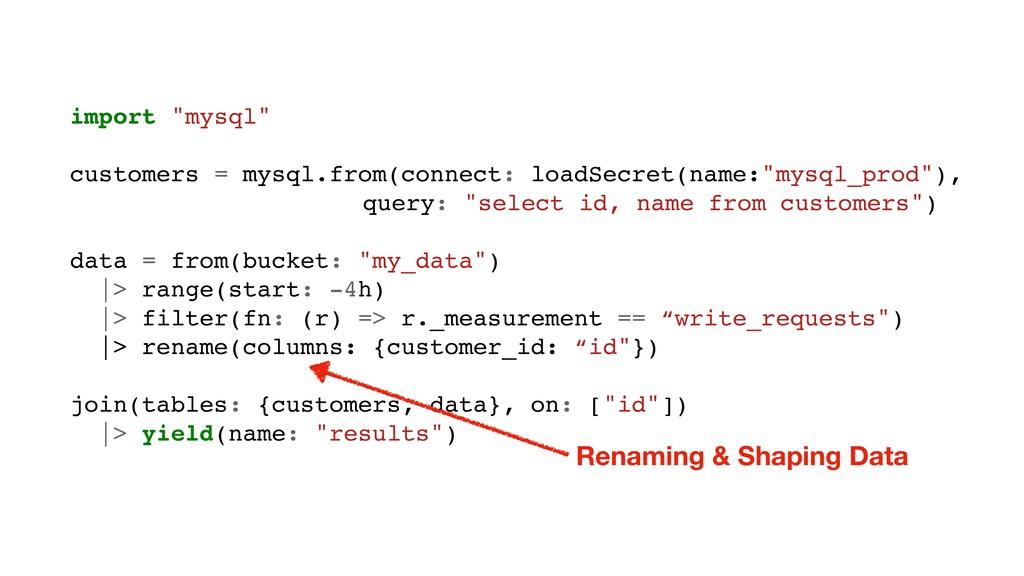 "import ""mysql"" customers = mysql.from(connect: ..."