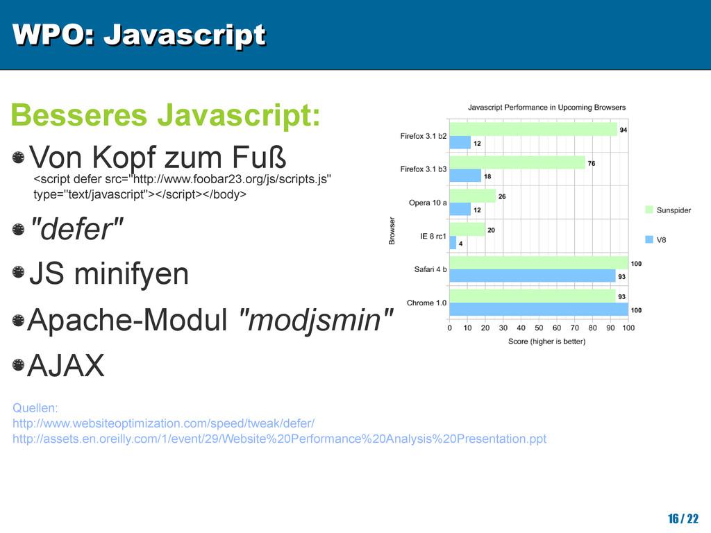 WPO: Javascript WPO: Javascript 16/ 22 Besseres...