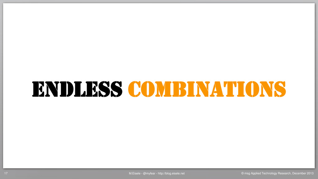 ENDLESS COMBINATIONS M.Eisele - @myfear - http:...