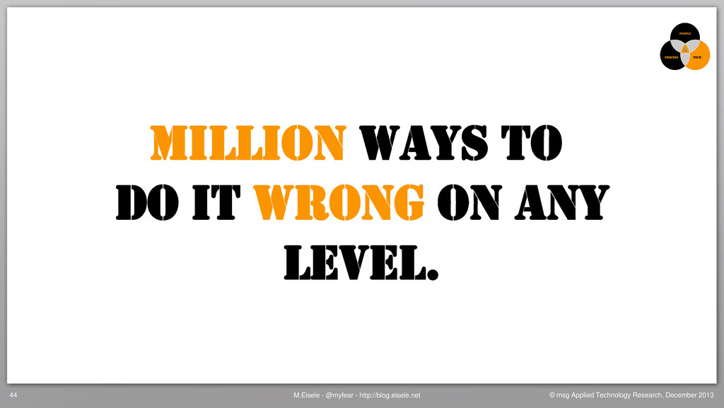 Million ways to Do it wrong on any Level. M.Eis...