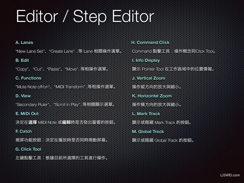 Editor / Step Editor A. Lanes B. Edit C. Functi...