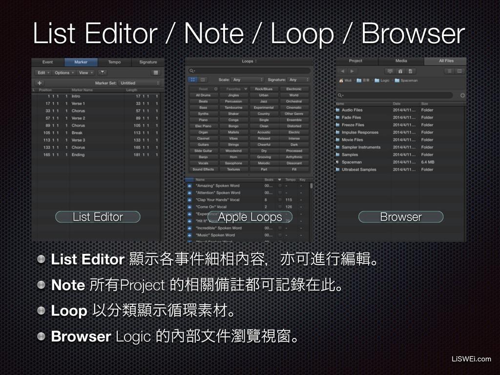 List Editor / Note / Loop / Browser -J48&JDPN ...