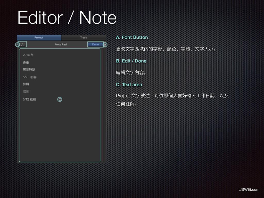 Editor / Note -J48&JDPN A. Font Button B. Edit...