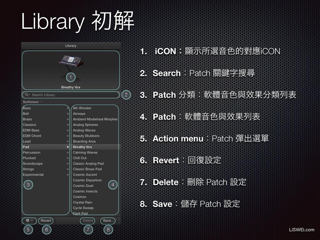 Library ॳղ 1. iCONɿᰖࣔॴબԻ৭తሣጯiCON 2. SearchɿPatc...