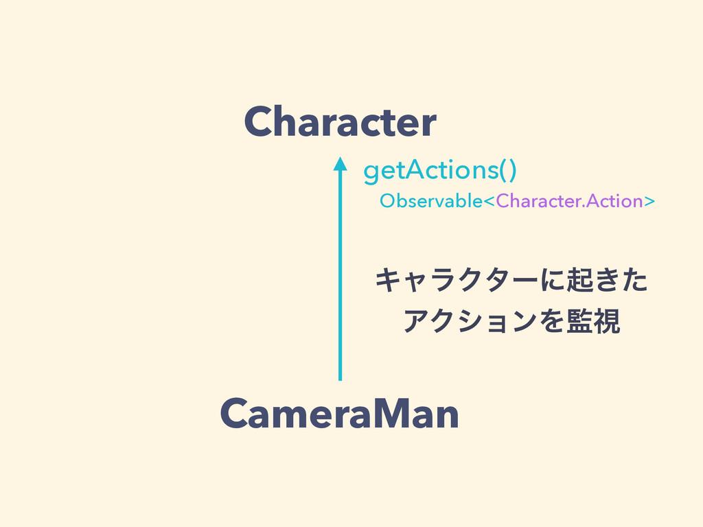 Character CameraMan getActions() Observable<Cha...