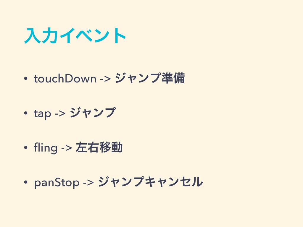 ೖྗΠϕϯτ • touchDown -> δϟϯϓ४උ • tap -> δϟϯϓ • fli...
