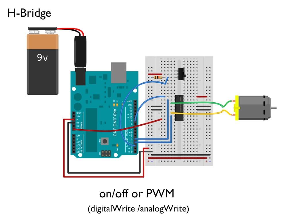 on/off or PWM (digitalWrite /analogWrite) H-Bri...