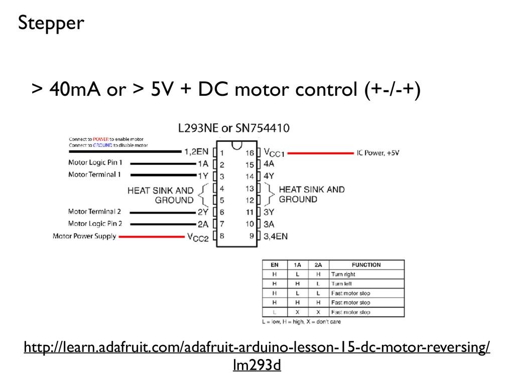 Stepper > 40mA or > 5V + DC motor control (+-/-...