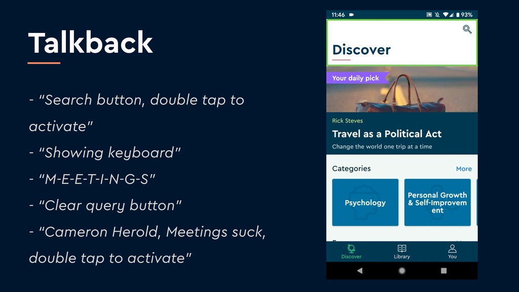"Talkback - ""Search button, double tap to activa..."