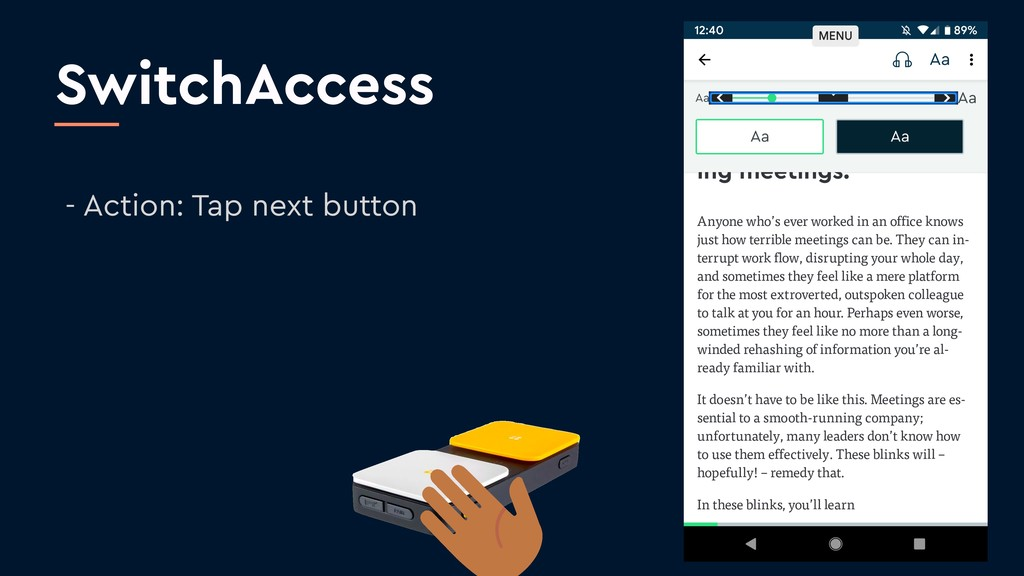 SwitchAccess - Action: Tap next button