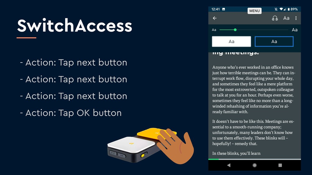 SwitchAccess - Action: Tap next button - Action...