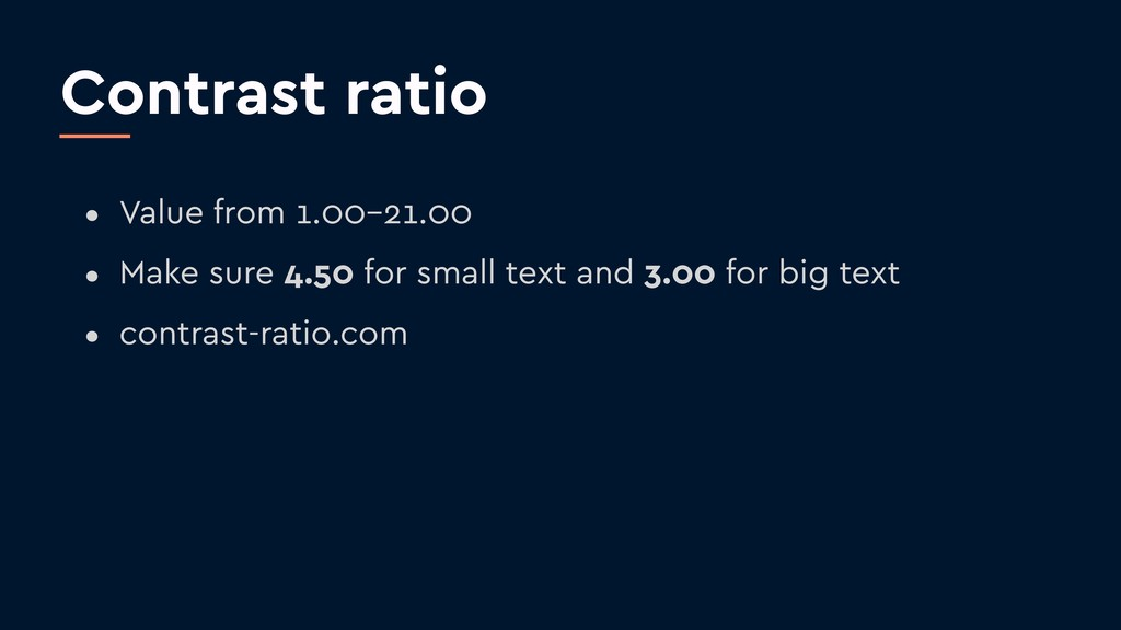 Contrast ratio • Value from 1.00–21.00 • Make s...