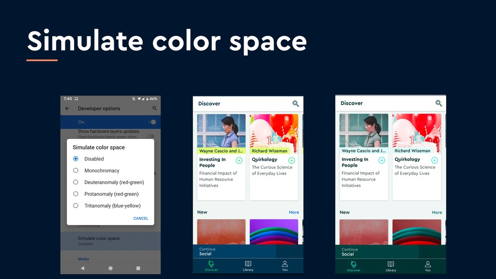 Simulate color space