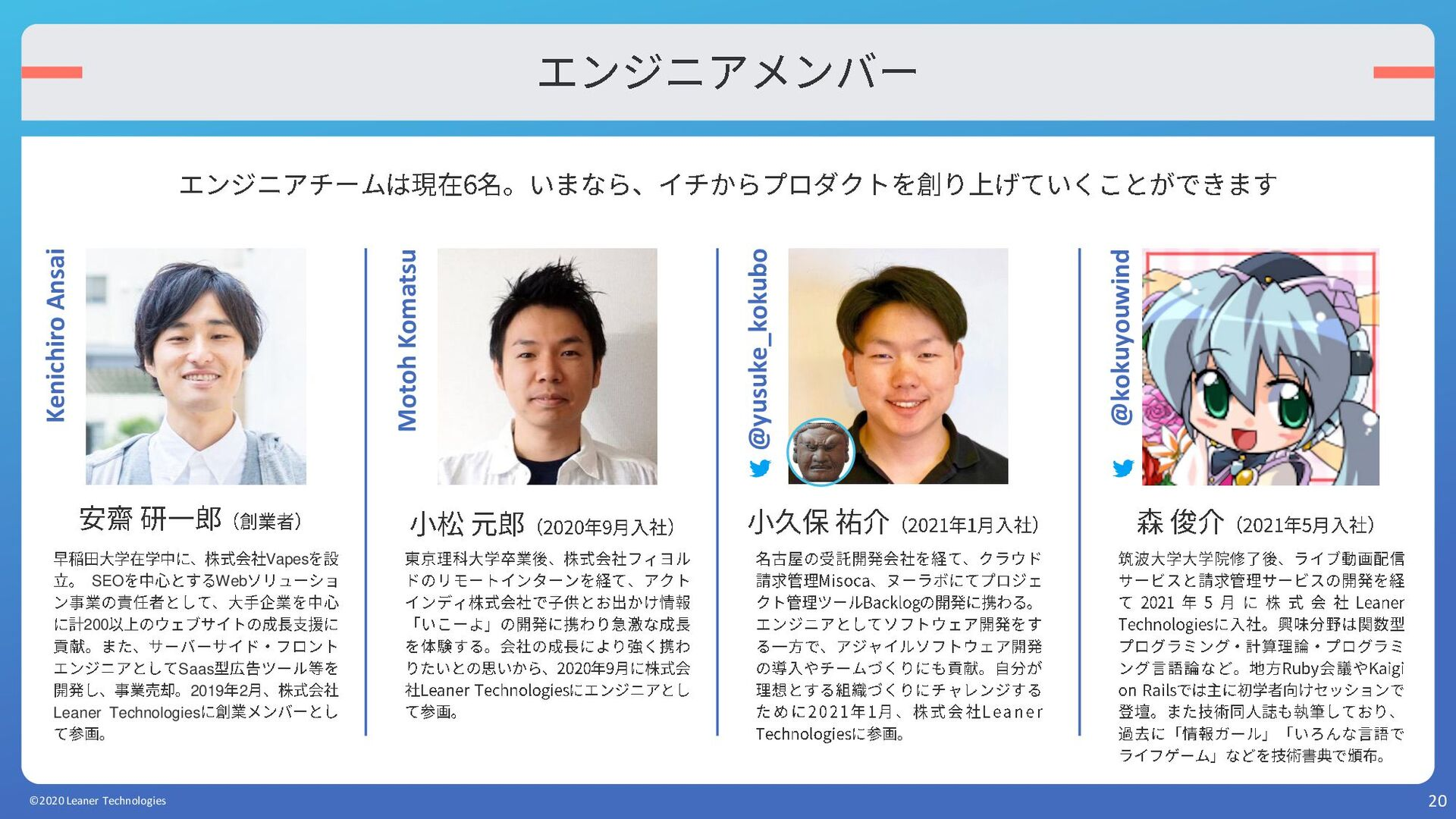 20 エンジニアメンバー ©2020 Leaner Technologies エンジニアチーム...