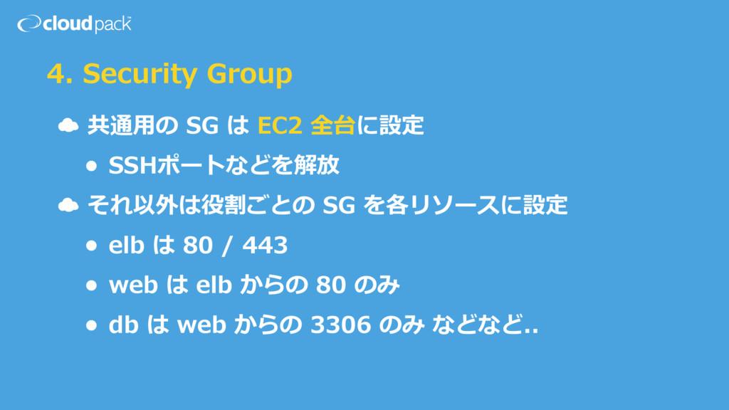 4. Security Group ☁ 共通⽤用の SG は EC2 全台に設定 ...