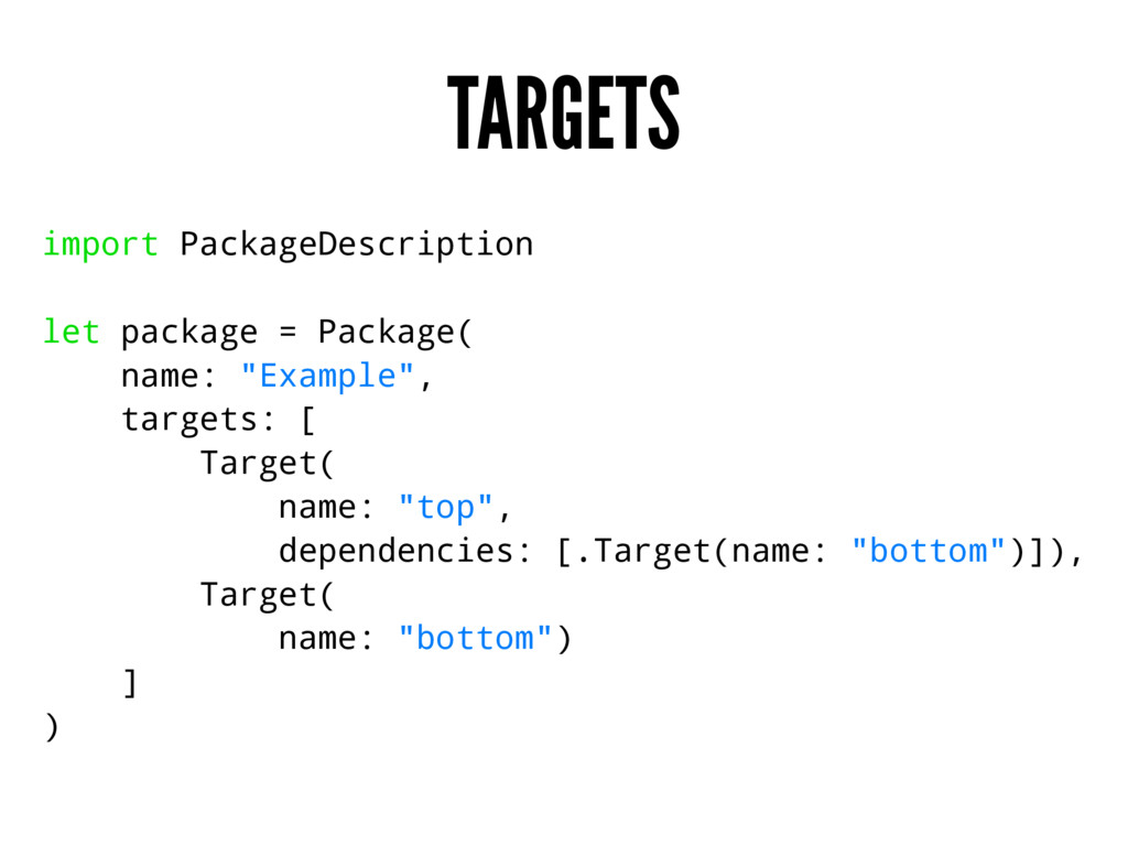 TARGETS import PackageDescription let package =...