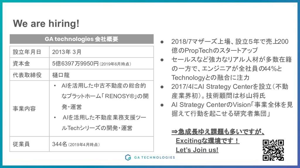 We are hiring! 8 8 GA technologies 会社概要 設立年月日 2...