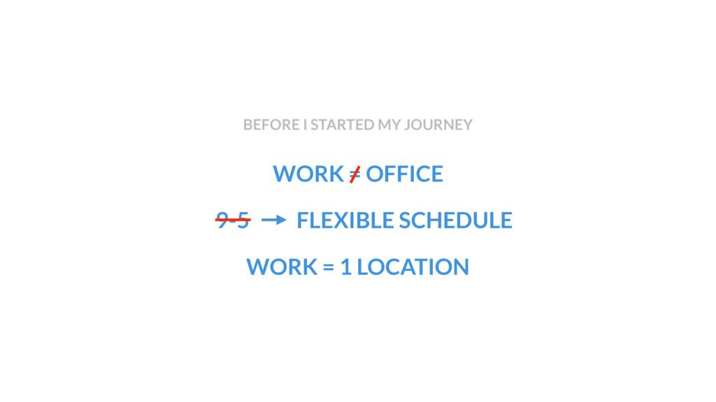 WORK = OFFICE WORK = 1 LOCATION BEFORE I STARTE...