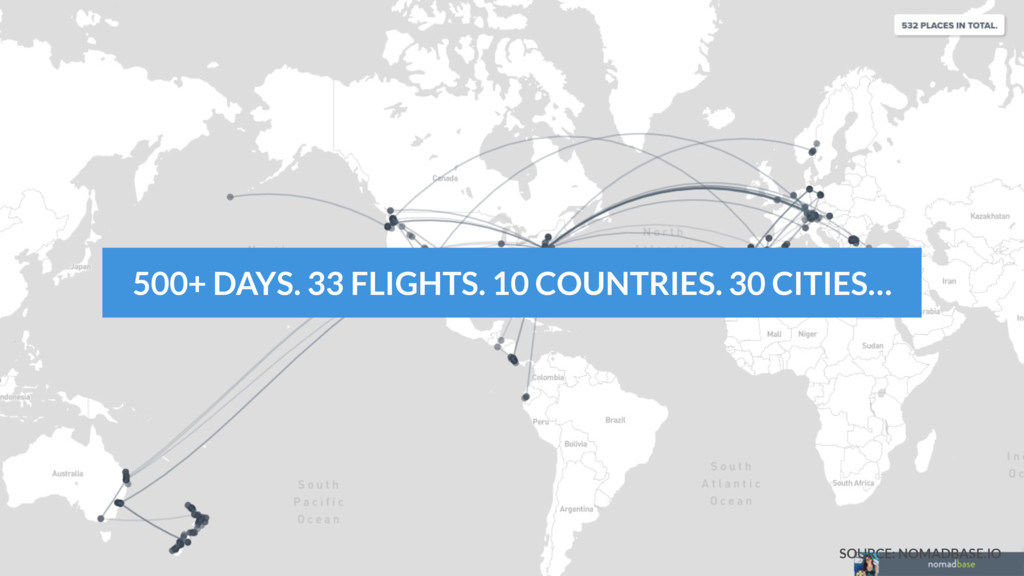 500+ DAYS. 33 FLIGHTS. 10 COUNTRIES. 30 CITIES…...