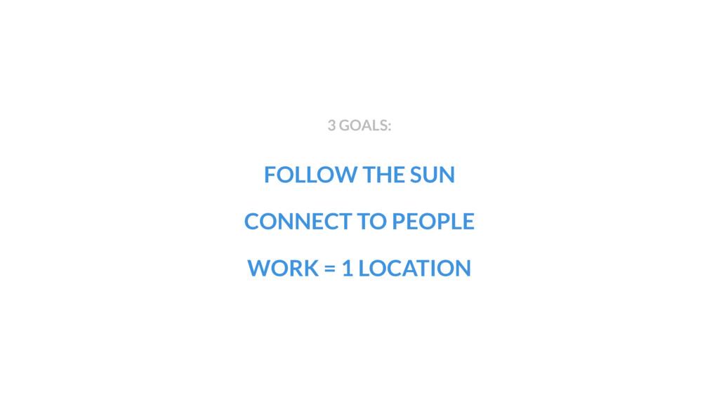 FOLLOW THE SUN WORK = 1 LOCATION 3 GOALS: CONNE...