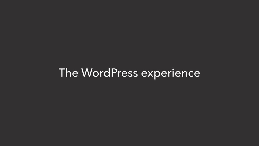 The WordPress experience