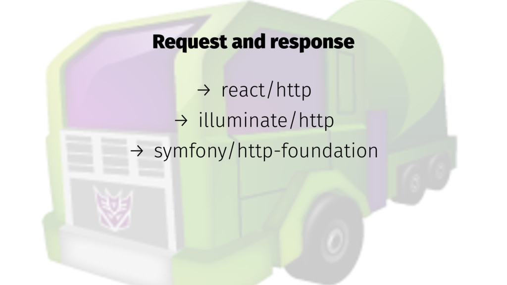 Request and response → react/http → illuminate/...