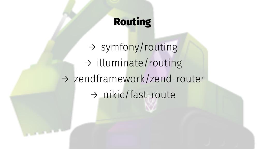 Routing → symfony/routing → illuminate/routing ...